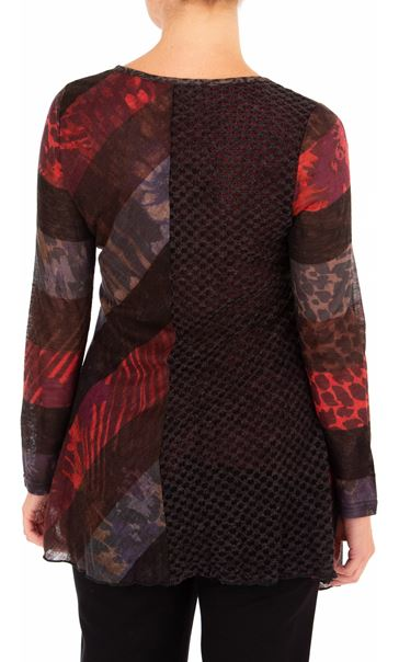 Anna Rose Long Sleeve Knitted Tunic Merlot/Black/Multi - Gallery Image 2