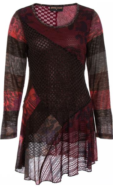 Anna Rose Long Sleeve Knitted Tunic Merlot/Black/Multi - Gallery Image 3