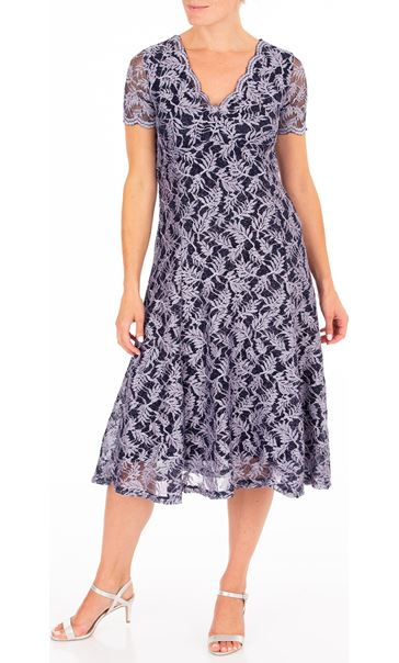 Anna Rose Glitter Lace Midi Dress - Blue