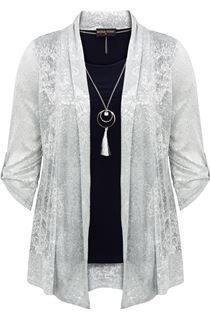 Anna Rose Shimmer Top With Necklace