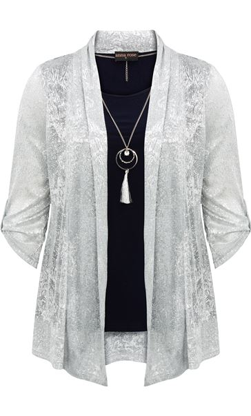 Anna Rose Shimmer Top With Necklace Silver