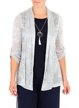 Anna Rose Shimmer Top With Necklace Silver - Gallery Image 2