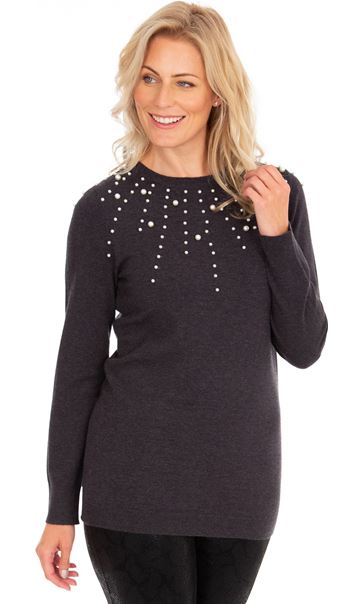 Faux Pearl Embellished Knitted Top Charcoal Marl