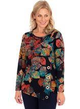 Leaf Print Long Sleeve Knit Top Navy/Scarlet/Emerald - Gallery Image 1
