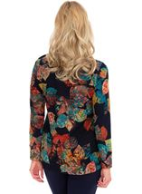 Leaf Print Long Sleeve Knit Top Navy/Scarlet/Emerald - Gallery Image 2