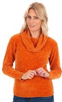 Cowl Neck Long Sleeve Chenille Top Orange - Gallery Image 1