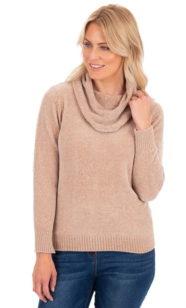 Cowl Neck Chenille Knit Top - Beige