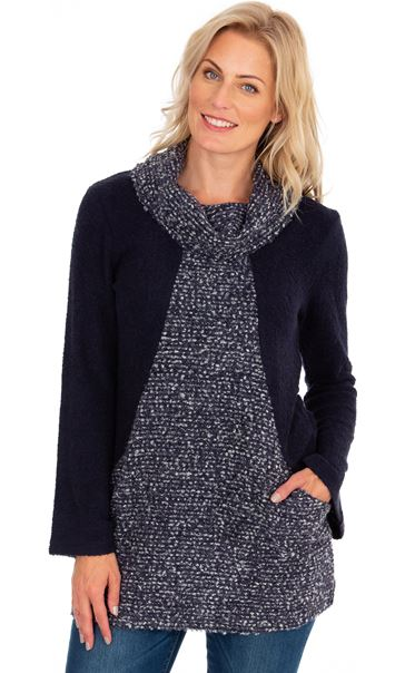 Cowl Neck Knitted Tunic Navy Marl