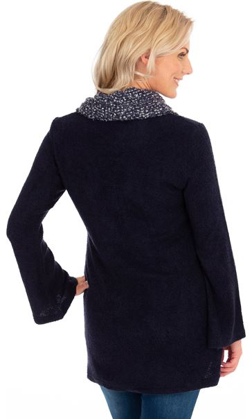 Cowl Neck Knitted Tunic Navy Marl - Gallery Image 2