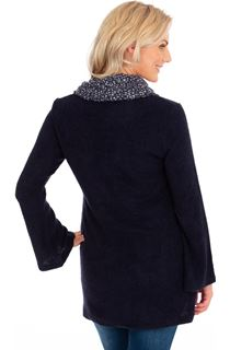 Cowl Neck Knitted Tunic - Navy Marl