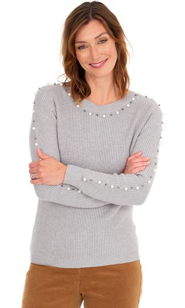 Faux Pearl Embellished Knitted Top Grey