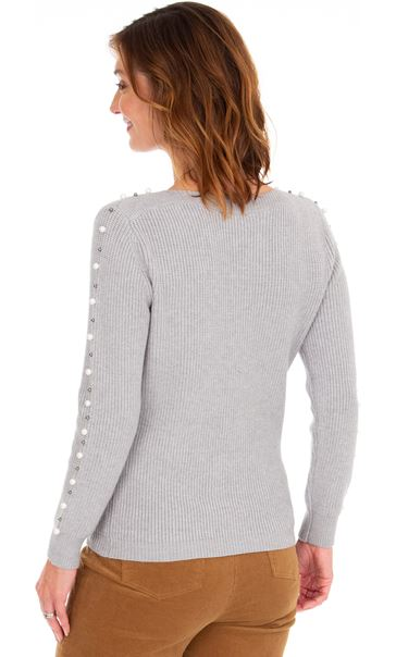 Faux Pearl Embellished Knitted Top Grey - Gallery Image 2
