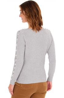 Faux Pearl Embellished Knitted Top - Grey