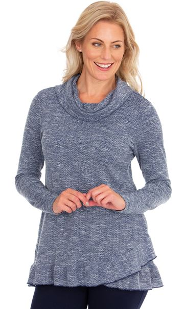 Cowl Neck Long Sleeve Knit Top Navy Marl