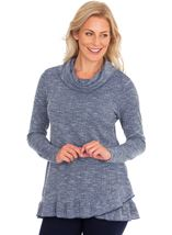 Cowl Neck Long Sleeve Knit Top Navy Marl - Gallery Image 1