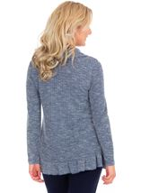 Cowl Neck Long Sleeve Knit Top Navy Marl - Gallery Image 2