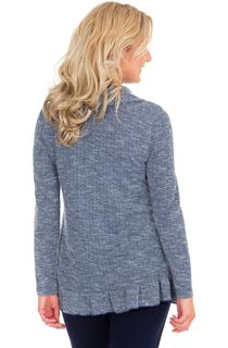 Cowl Neck Long Sleeve Knit Top - Navy Marl