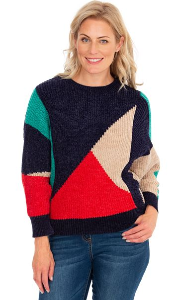 Chenille Colour Block Batwing Knit Top