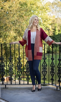 Colour Block Open Cardigan