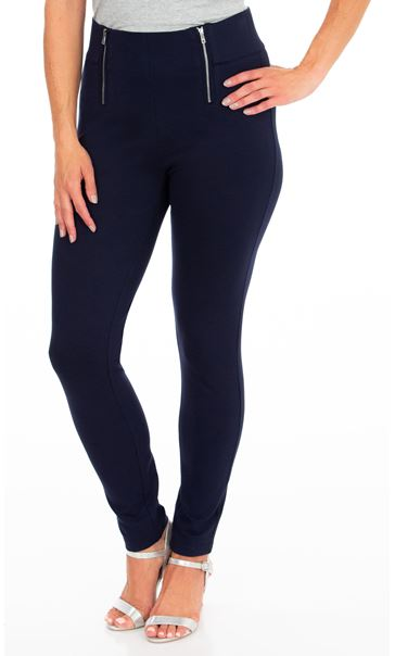 Pull On Ponte Trousers Navy
