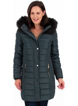 Faux Fur Trimmed Puffa Coat Green - Gallery Image 1