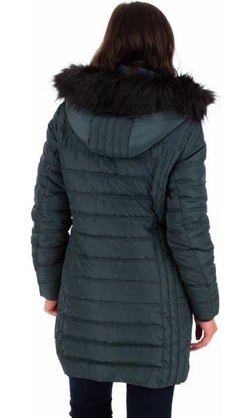 Faux Fur Trimmed Puffa Coat Green - Gallery Image 2