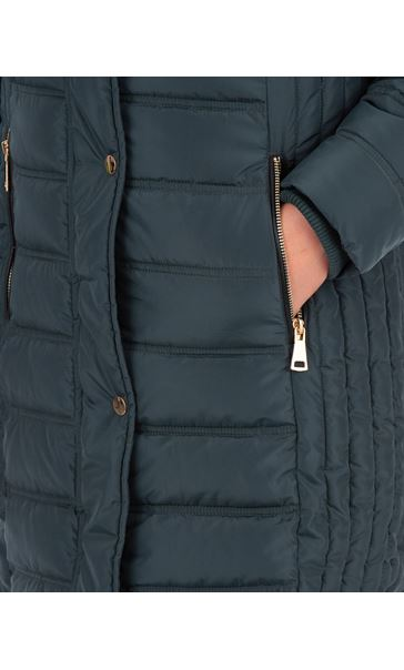 Faux Fur Trimmed Puffa Coat Green - Gallery Image 3
