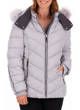 Anna Rose Faux Fur Trimmed Quilted Coat Grey - Gallery Image 1