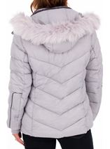 Anna Rose Faux Fur Trimmed Quilted Coat Grey - Gallery Image 2