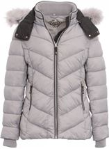 Anna Rose Faux Fur Trimmed Quilted Coat Grey - Gallery Image 3