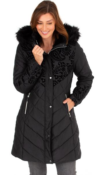Flocked Faux Fur Trimmed Coat Black