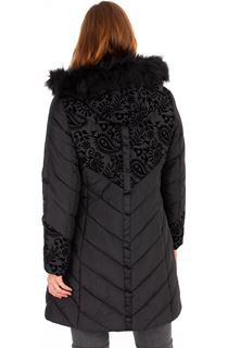 Flocked Faux Fur Trimmed Coat