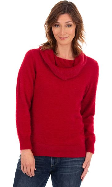 Cowl Neck Eyelash Knit Top Ruby