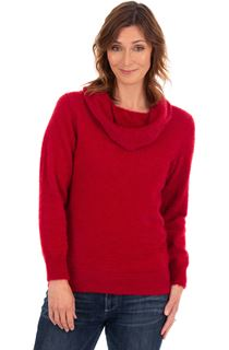 Cowl Neck Eyelash Knit Top - Ruby