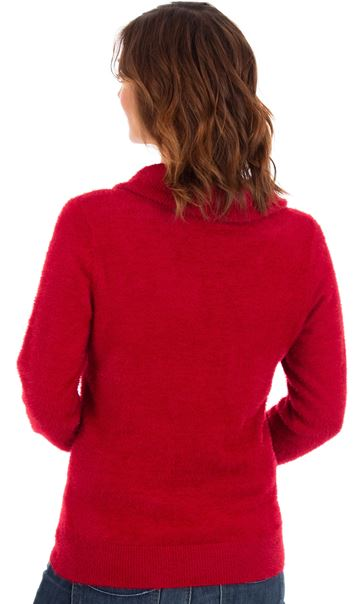 Cowl Neck Eyelash Knit Top Red - Gallery Image 2