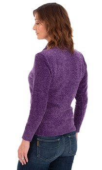 Cowl Neck Chenille Knit Top - Purple