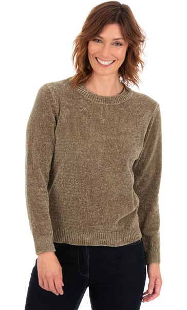 Long Sleeve Chenille Top Olive