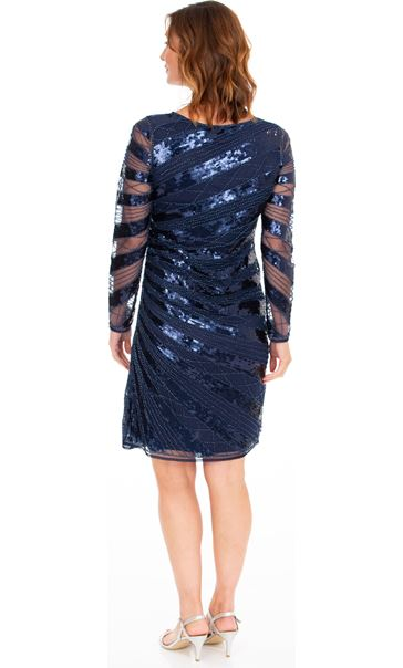Embellished Long Sleeve Mesh Dress Midnight - Gallery Image 2