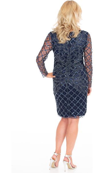 Long Sleeve Embellished Mesh Dress Midnight/Silver - Gallery Image 2