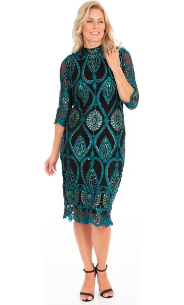 Embellished Fitted Mesh Midi Dress Black/Gold/Green