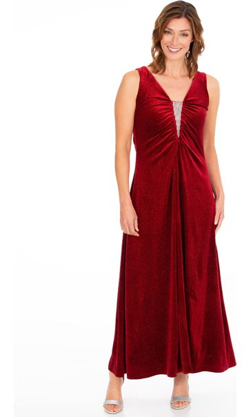Sleeveless Glitter Velour Maxi Dress