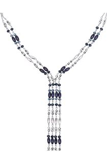Double Layered Beaded Necklace with Tassel