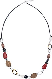 Multi-Beaded Necklace - Silver/Red