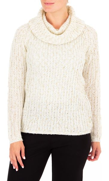 Anna Rose Shimmer Cowl Neck Knit Top Ivory/Gold