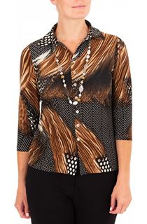 Anna Rose Animal Print Jersey Blouse With Necklace