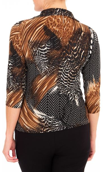 Anna Rose Animal Print Jersey Blouse With Necklace Black/Brown/Multi - Gallery Image 2