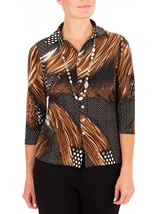 Anna Rose Animal Print Jersey Blouse With Necklace Black/Brown/Multi - Gallery Image 1