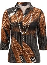 Anna Rose Animal Print Jersey Blouse With Necklace Black/Brown/Multi - Gallery Image 3