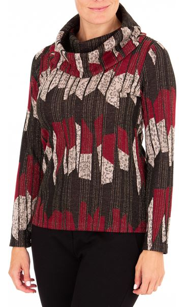 Anna Rose Cowl Neck Knit top Merlot/Multi
