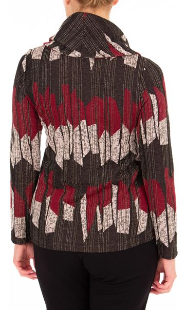 Anna Rose Cowl Neck Knit top Merlot/Multi - Gallery Image 2